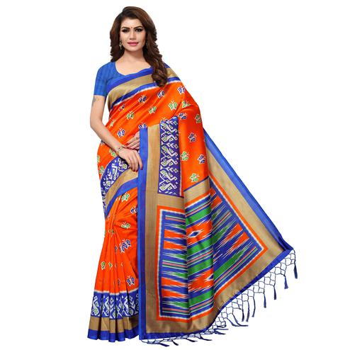 Impressive Orange Colored Casual Printed Mysore Art Silk Saree