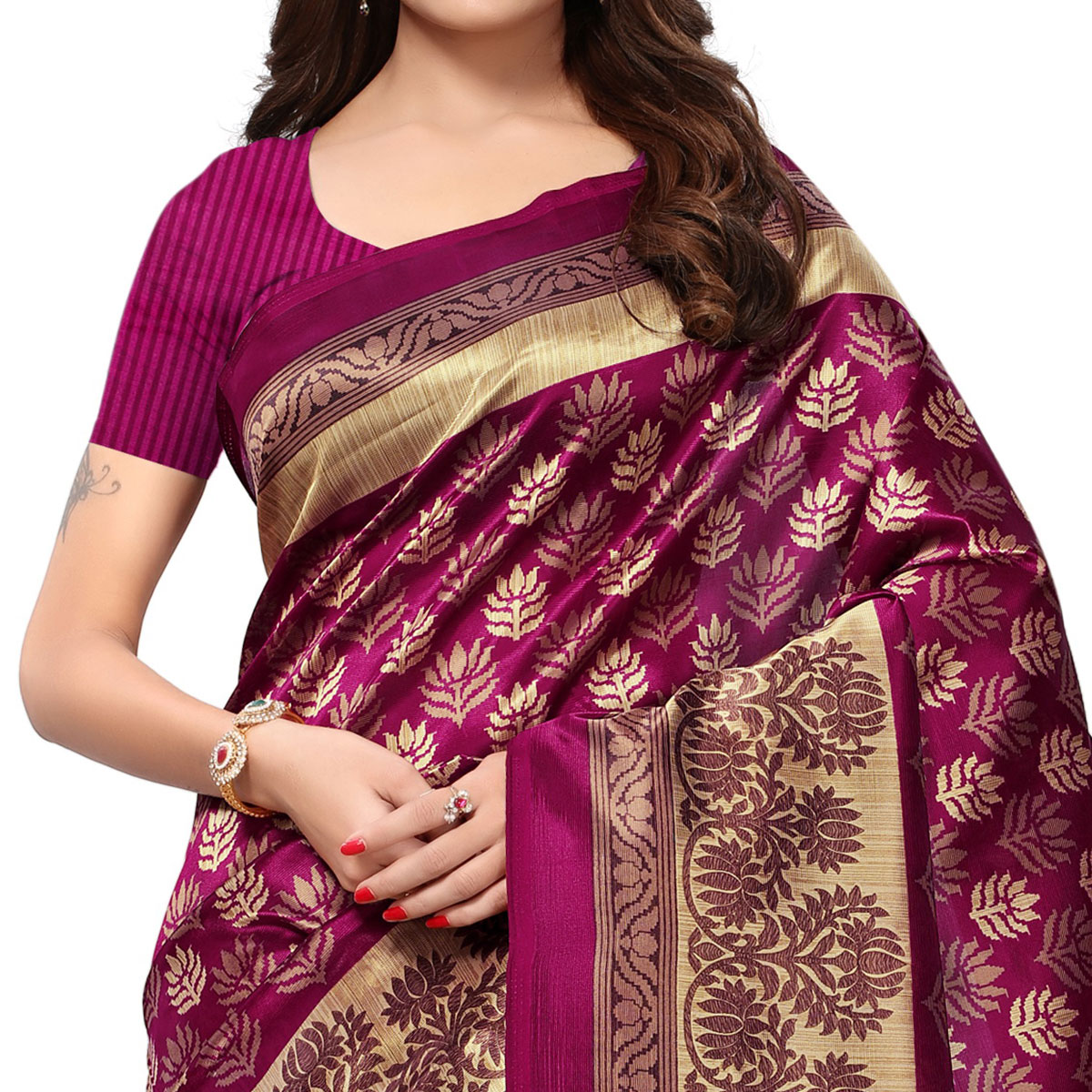 Gleaming Magenta Pink Colored Casual Printed Mysore Art Silk Saree