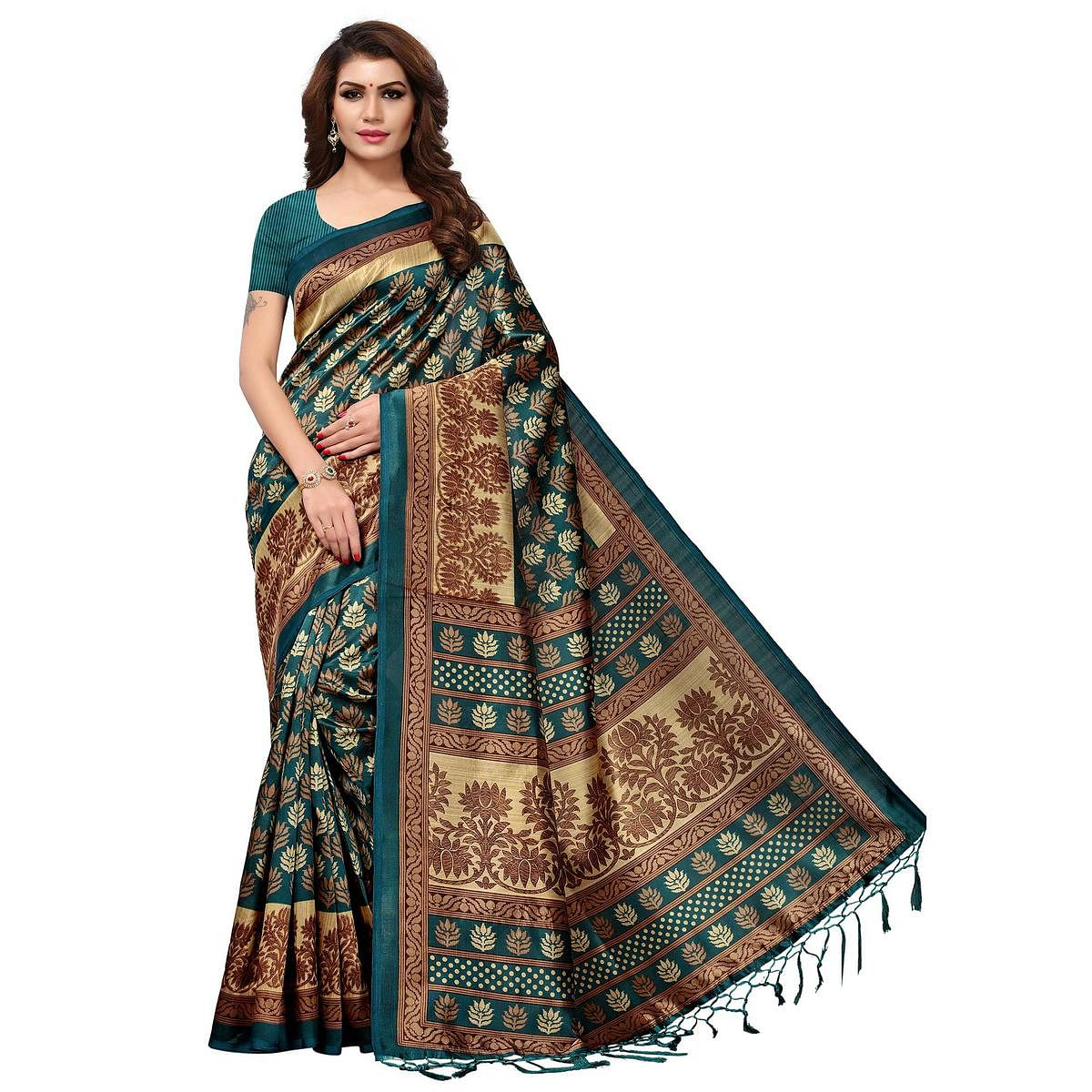 Arresting Teal Blue Colored Casual Printed Mysore Art Silk Saree