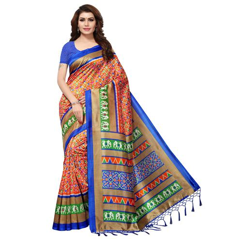 Ethnic Orange Colored Casual Printed Mysore Art Silk Saree