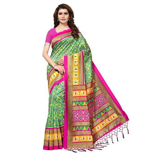 Unique Green Colored Casual Printed Mysore Art Silk Saree