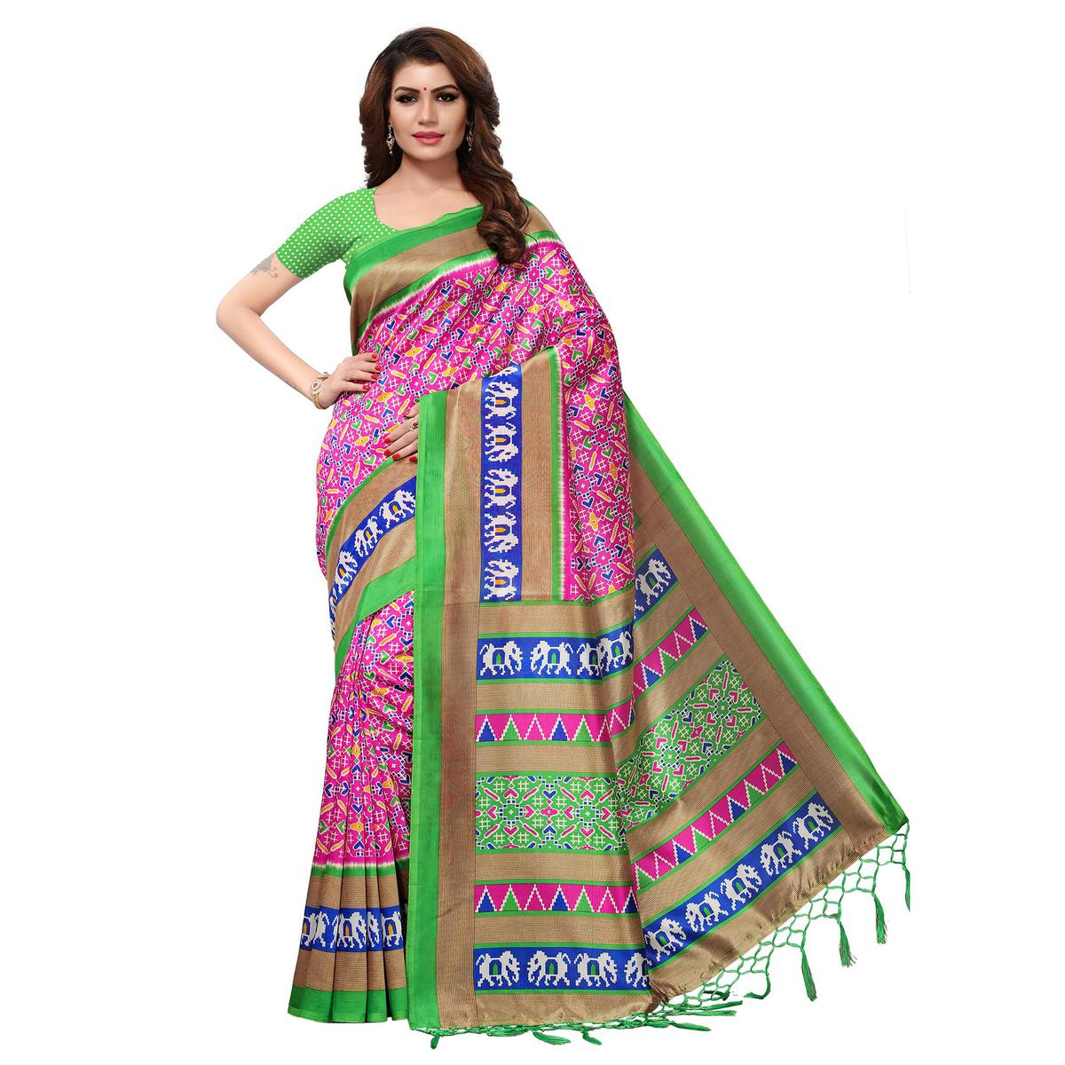 Refreshing Pink Colored Casual Printed Mysore Art Silk Saree