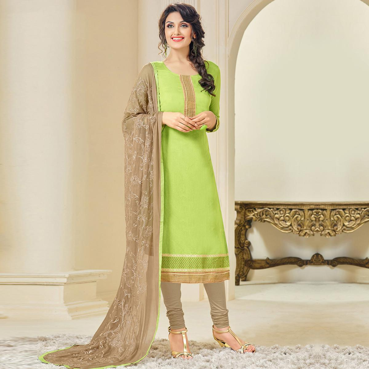 Graceful Green and Brown Embroidered Semi Stitched Salwar Suit