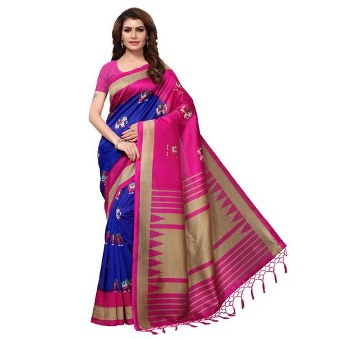 Alluring Blue-Pink Colored Festive Wear Printed Mysore Art Silk Saree