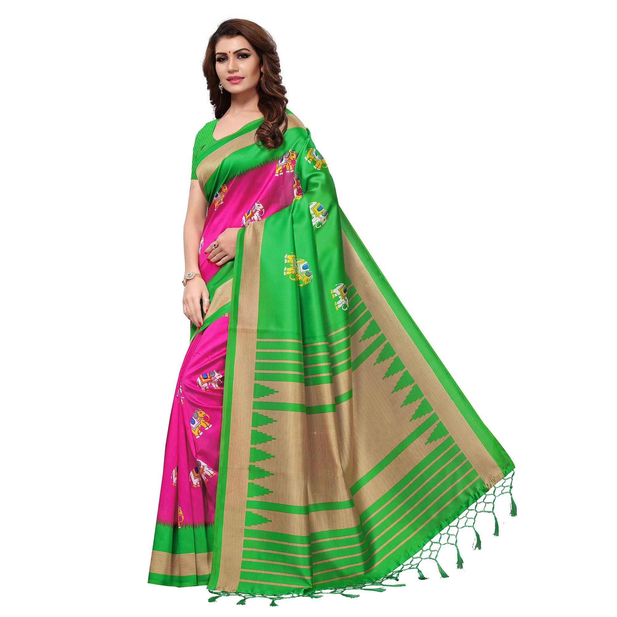 e6fdae1c4 Buy Radiant Pink-Green Colored Festive Wear Printed Mysore Art Silk Saree  For womens online India, Best Prices, Reviews - Peachmode