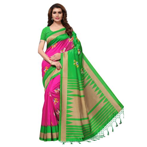 Radiant Pink-Green Colored Festive Wear Printed Mysore Art Silk Saree