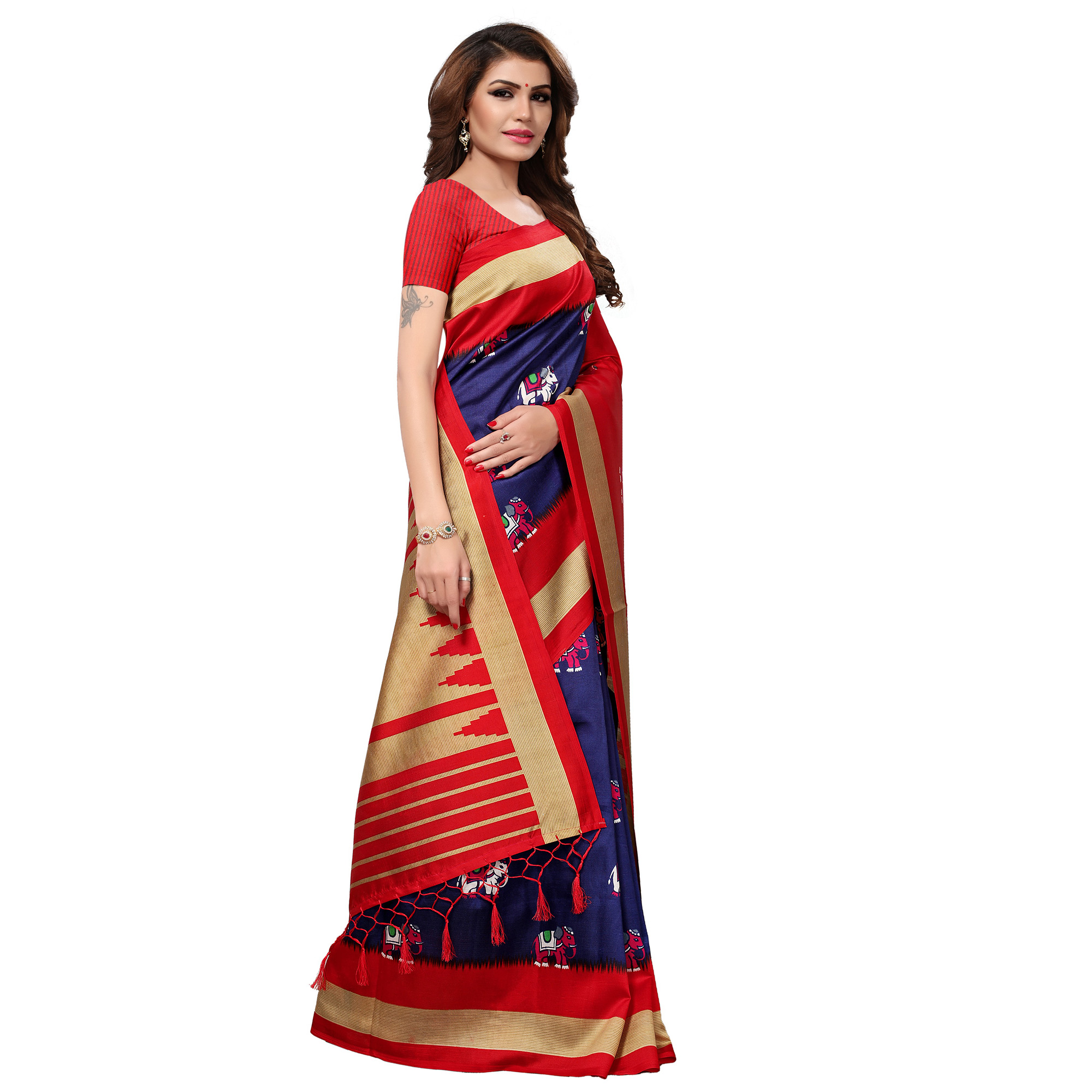 Ravishing Navy Blue-Red Colored Festive Wear Printed Mysore Art Silk Saree