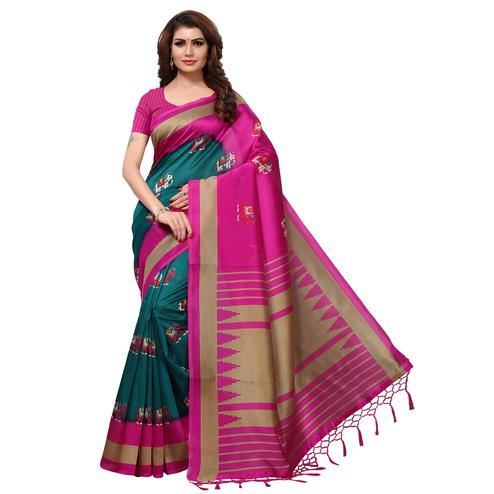 Delightful Teal Blue-Pink Colored Festive Wear Printed Mysore Art Silk Saree
