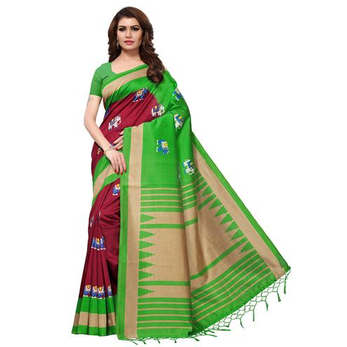 Stunning Maroon-Green Colored Festive Wear Printed Mysore Art Silk Saree