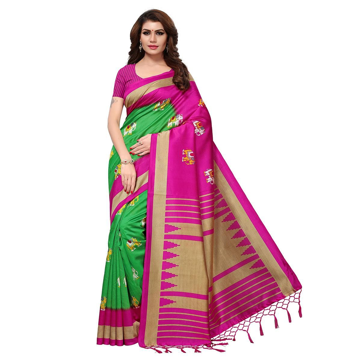 Blooming Green-Pink Colored Festive Wear Printed Mysore Art Silk Saree