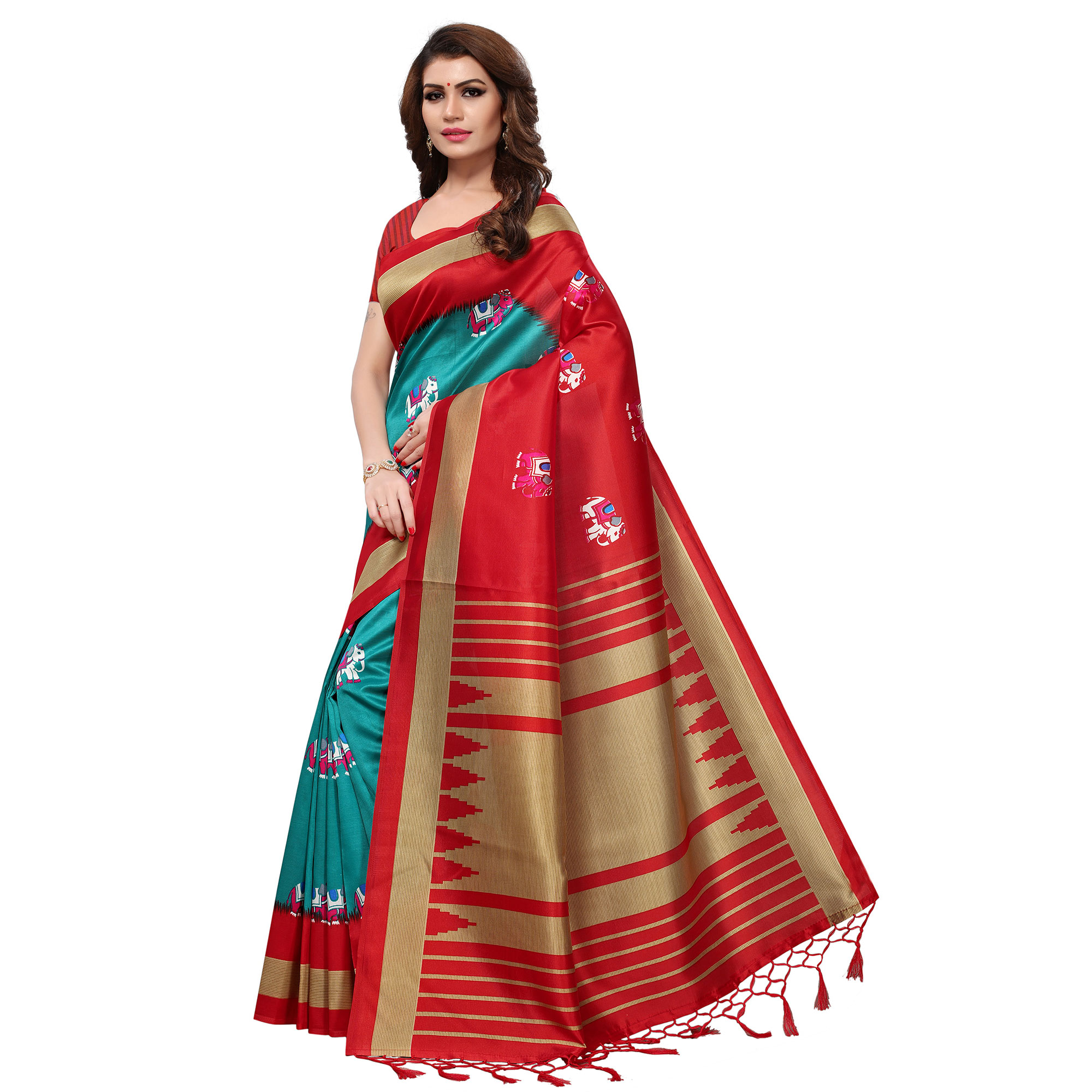 Marvellous Teal Blue-Red Colored Festive Wear Printed Mysore Art Silk Saree