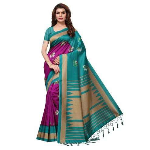 Mesmerising Magenta-Teal Blue Colored Festive Wear Printed Mysore Art Silk Saree