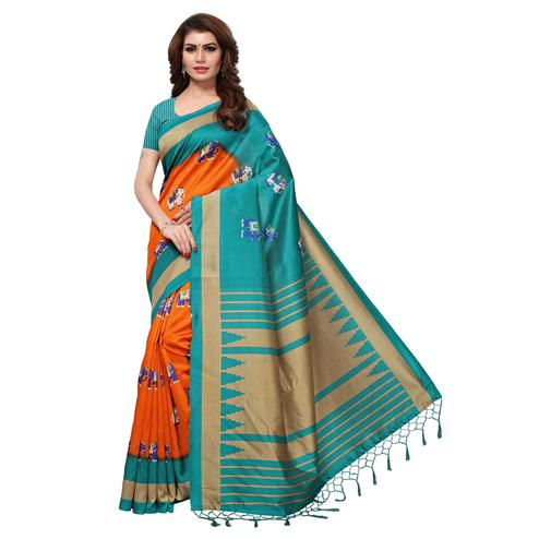 Ravishing Orange-Teal Blue Colored Festive Wear Printed Mysore Art Silk Saree