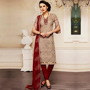 Charming Brown and Maroon Embroidered Semi Stitched Salwar Suit