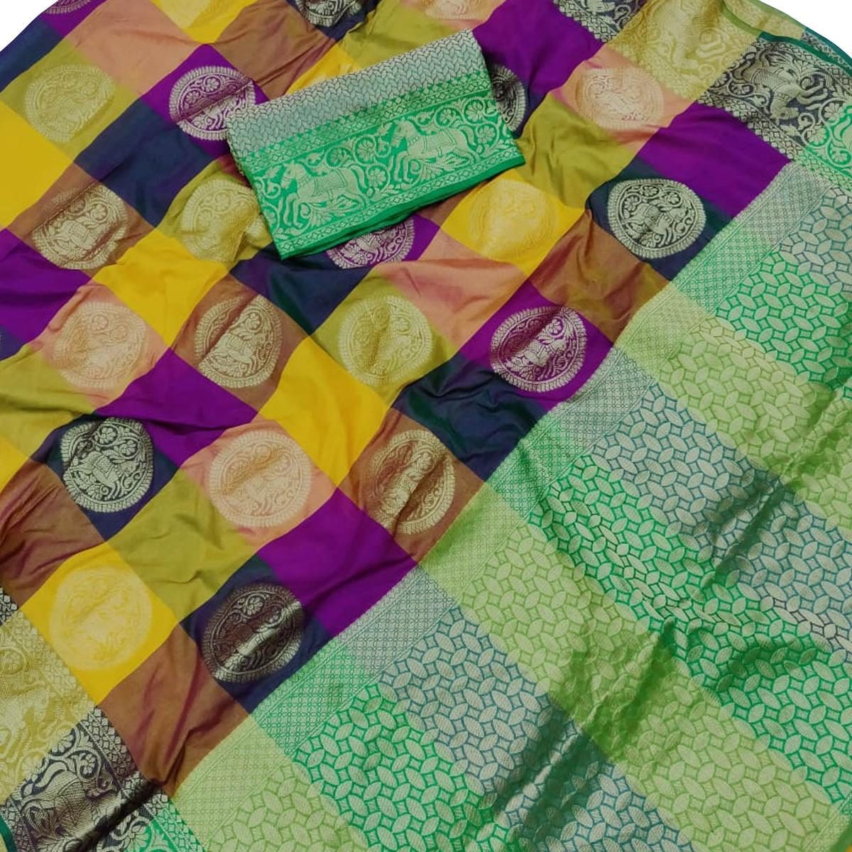 Elegant Multi Colored Festive Wear Silk Saree