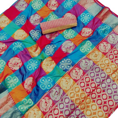 Groovy Multi Colored Festive Wear Silk Saree