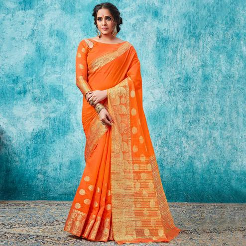 Elegant Orange Colored Festive Wear Woven Cotton Saree