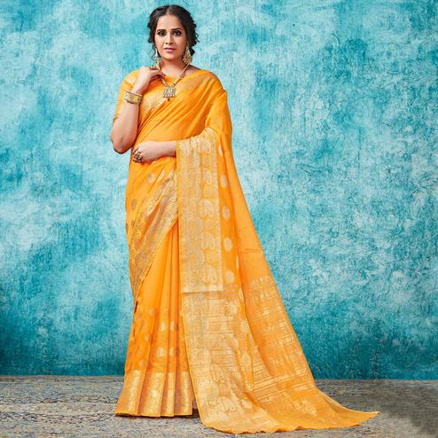 Alluring Yellow Colored Festive Wear Woven Cotton Saree