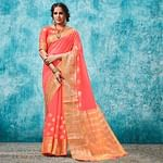 Adorning Peach Colored Festive Wear Woven Cotton Saree