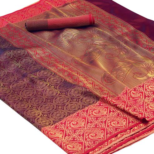 Elegant Purple Colored Festive Wear Woven Silk Saree