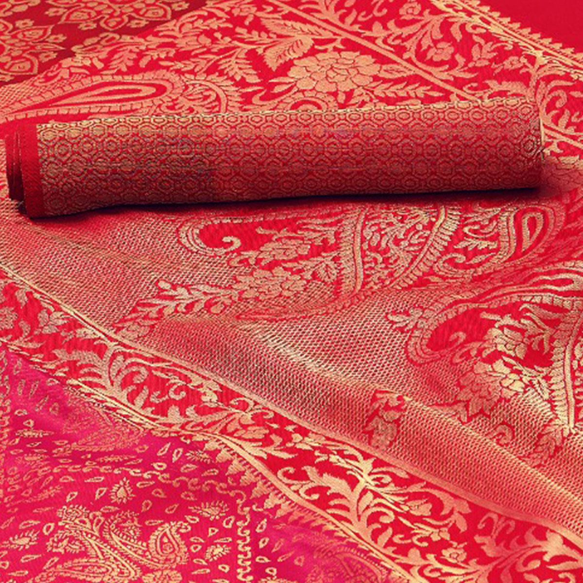 Alluring Deep Pink Colored Festive Wear Woven Silk Saree
