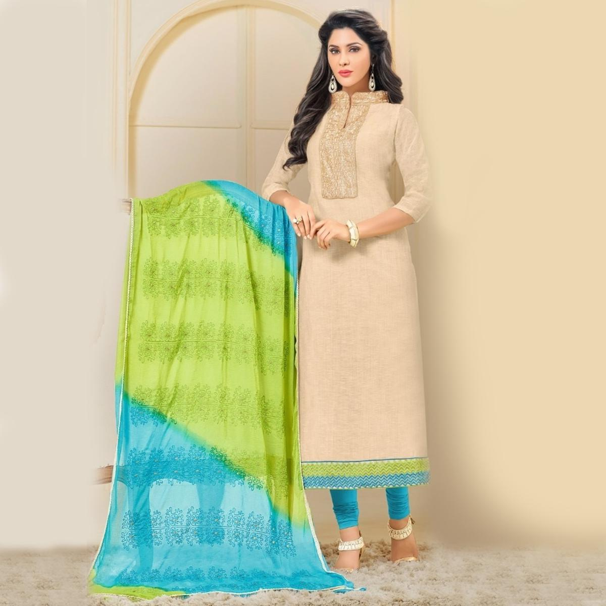 Elegant Chiku and Blue Embroidered Semi Stitched Salwar Suit