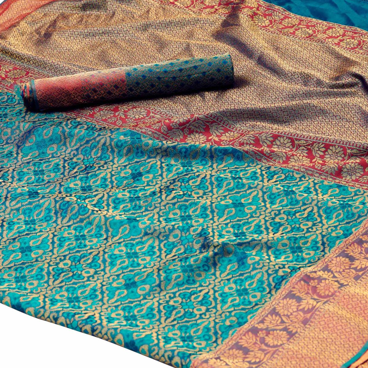 Radiant Teal Blue Colored Festive Wear Woven Silk Saree