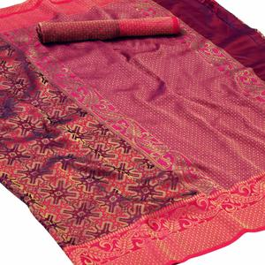 Sensational Maroon - Pink Colored Festive Wear Woven Silk Saree