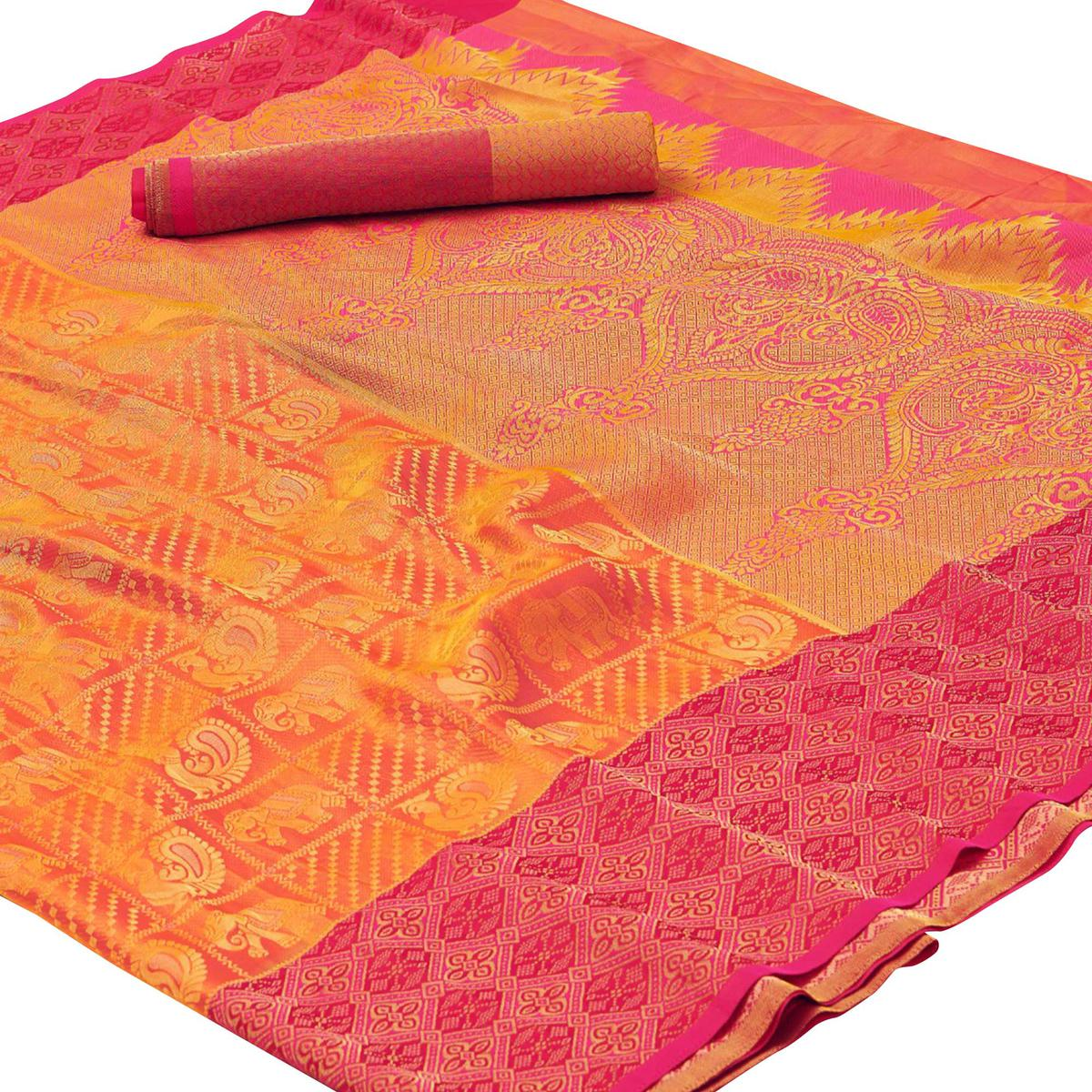 Dazzling Yellow - Pink Colored Festive Wear Woven Silk Saree