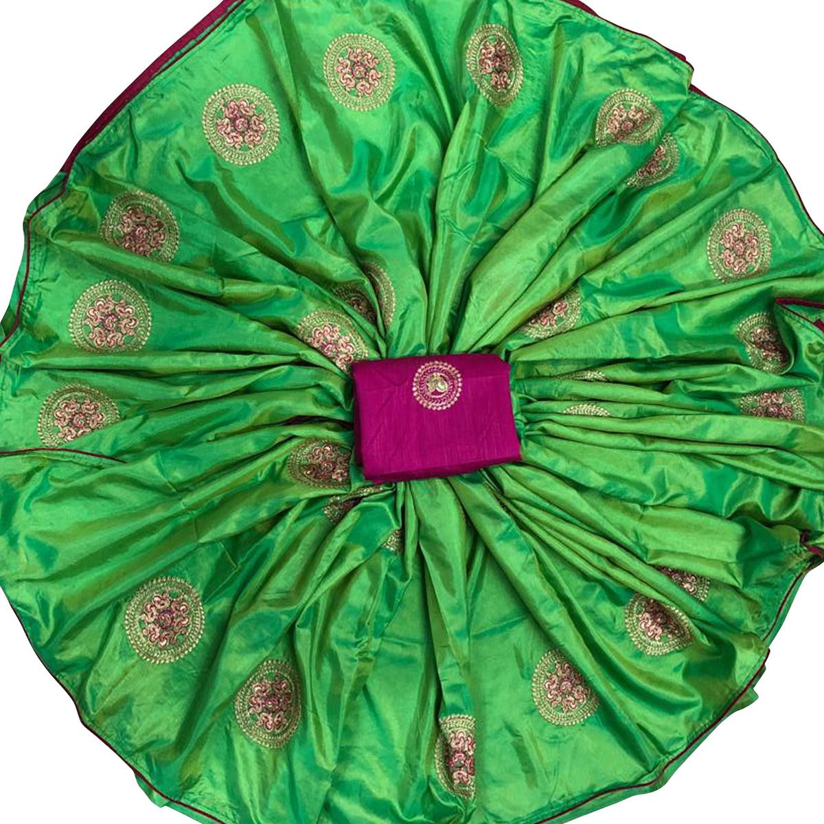 Glowing Green Colored Festive Wear Embroidered Paper Silk Saree