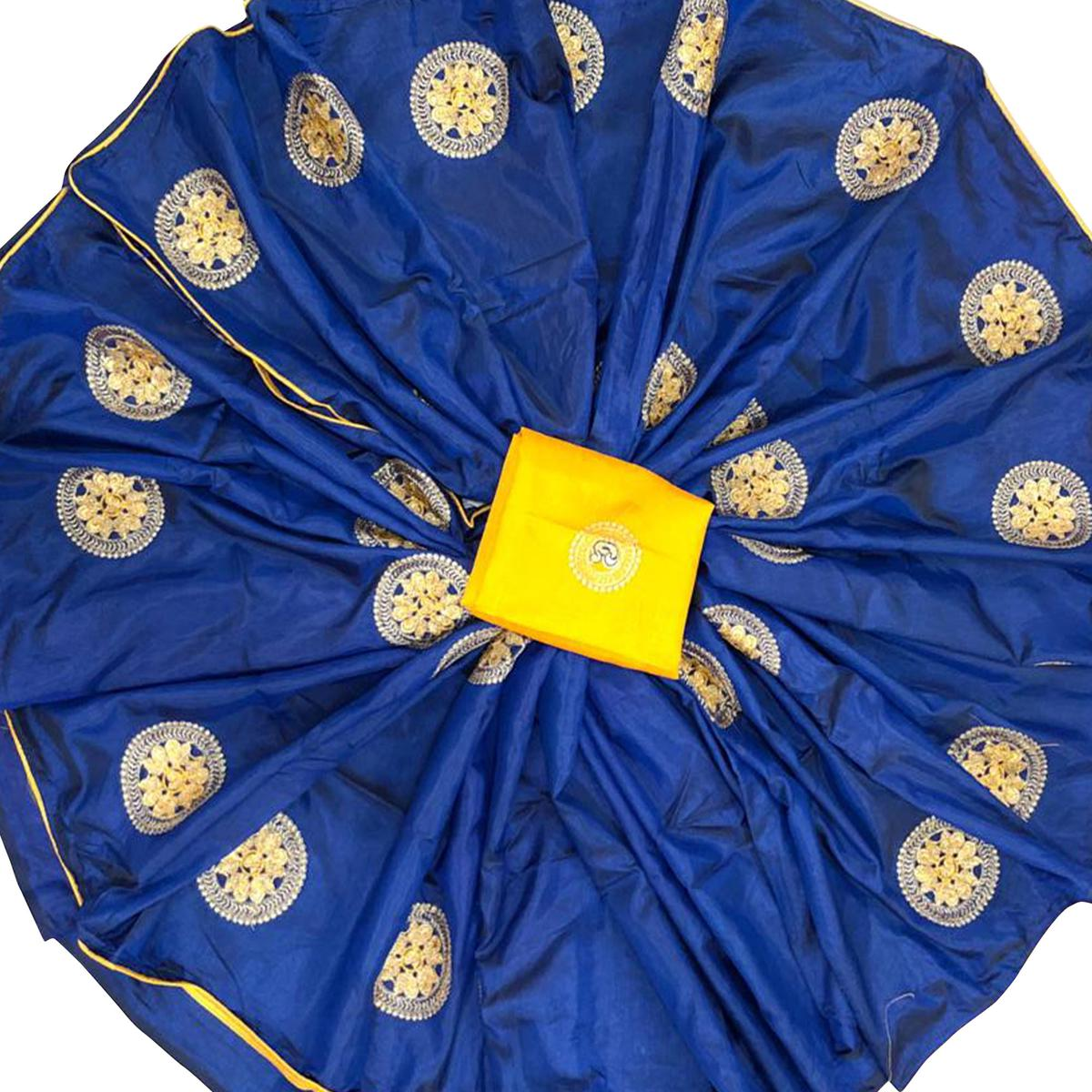 Classy Navy Blue Colored Festive Wear Embroidered Paper Silk Saree