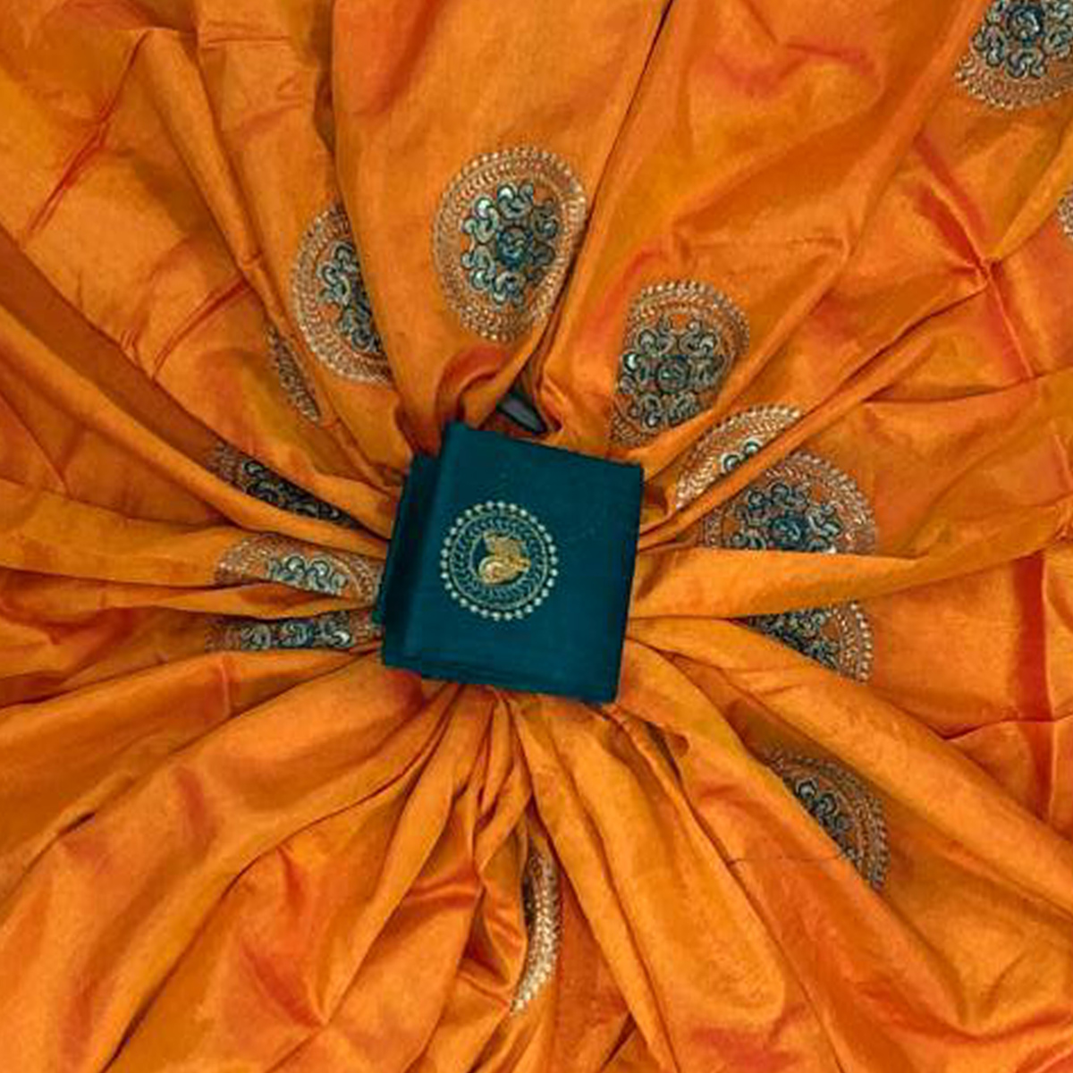 Beautiful Orange Colored Festive Wear Embroidered Paper Silk Saree