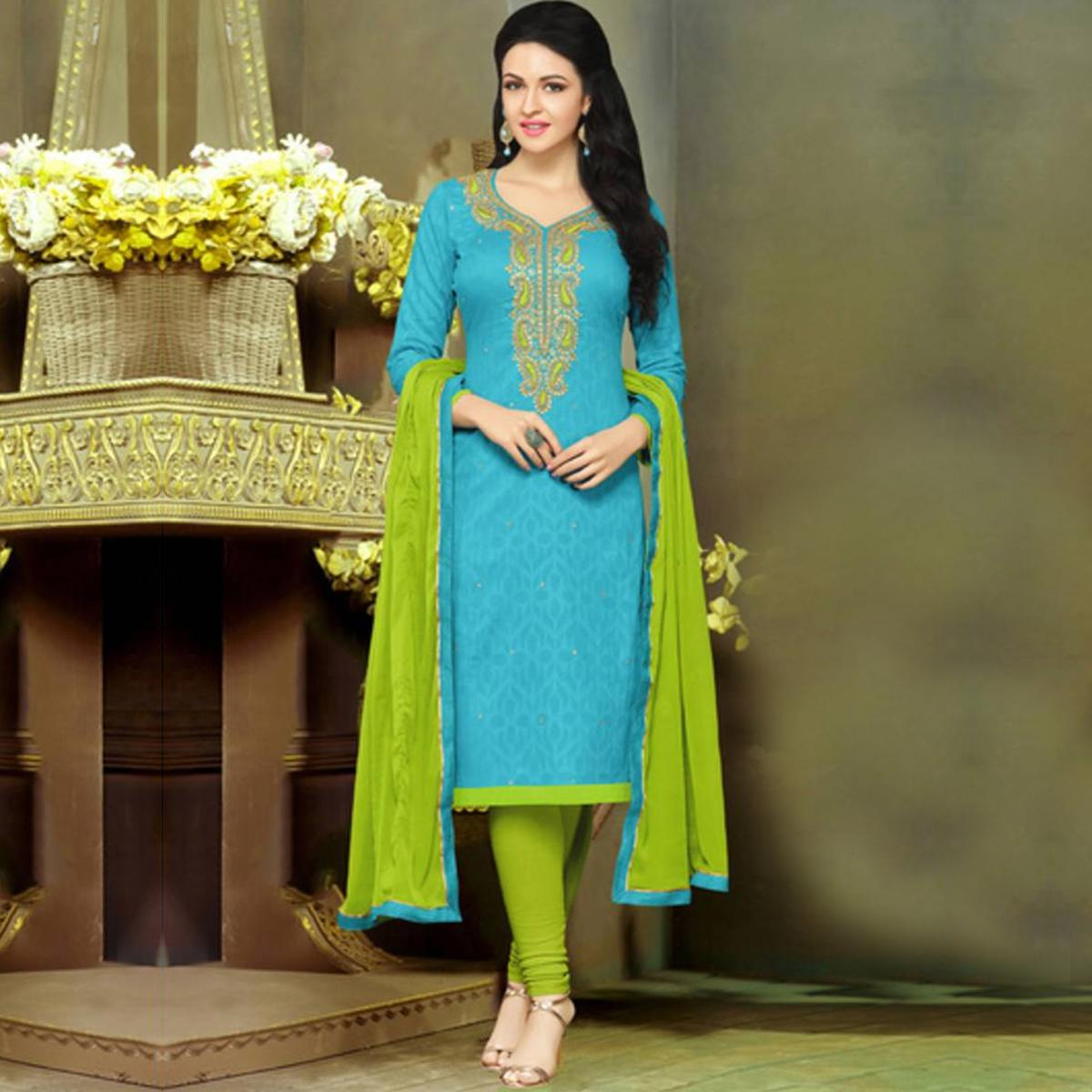 Gorgeous Blue and Green Embroidered Semi Stitched Salwar Suit
