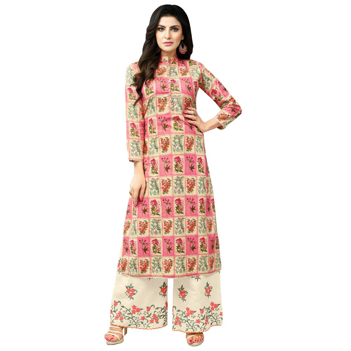 Dazzling Pink-Cream Colored Casual Printed Cotton Blend Palazzo Suit