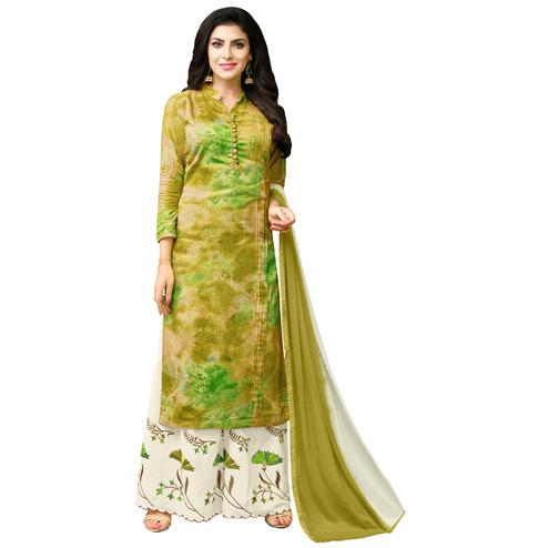 Excellent Shaded Green Colored Casual Printed Cotton Blend Palazzo Suit