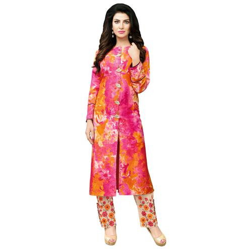 Ethnic Deep Pink-Orange Colored Party Wear Cotton Blend Suit