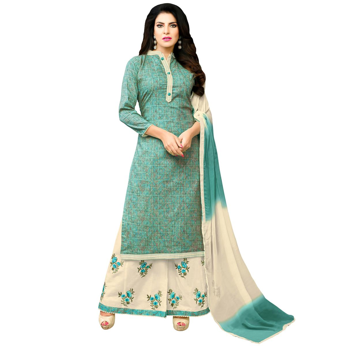 Starring Turquoise Colored Casual Printed Cotton Blend Palazzo Suit