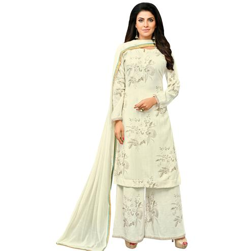Surpassing Off-White Colored Casual Printed Cotton Blend Palazzo Suit