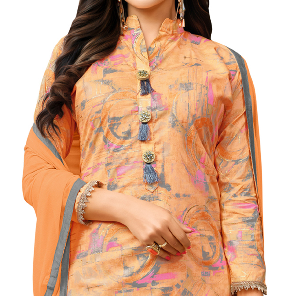 Radiant Orange Colored Casual Printed Cotton Blend Palazzo Suit
