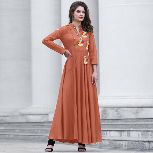 Elegant Peach Colored Party Wear Embroidered Cotton Kurti