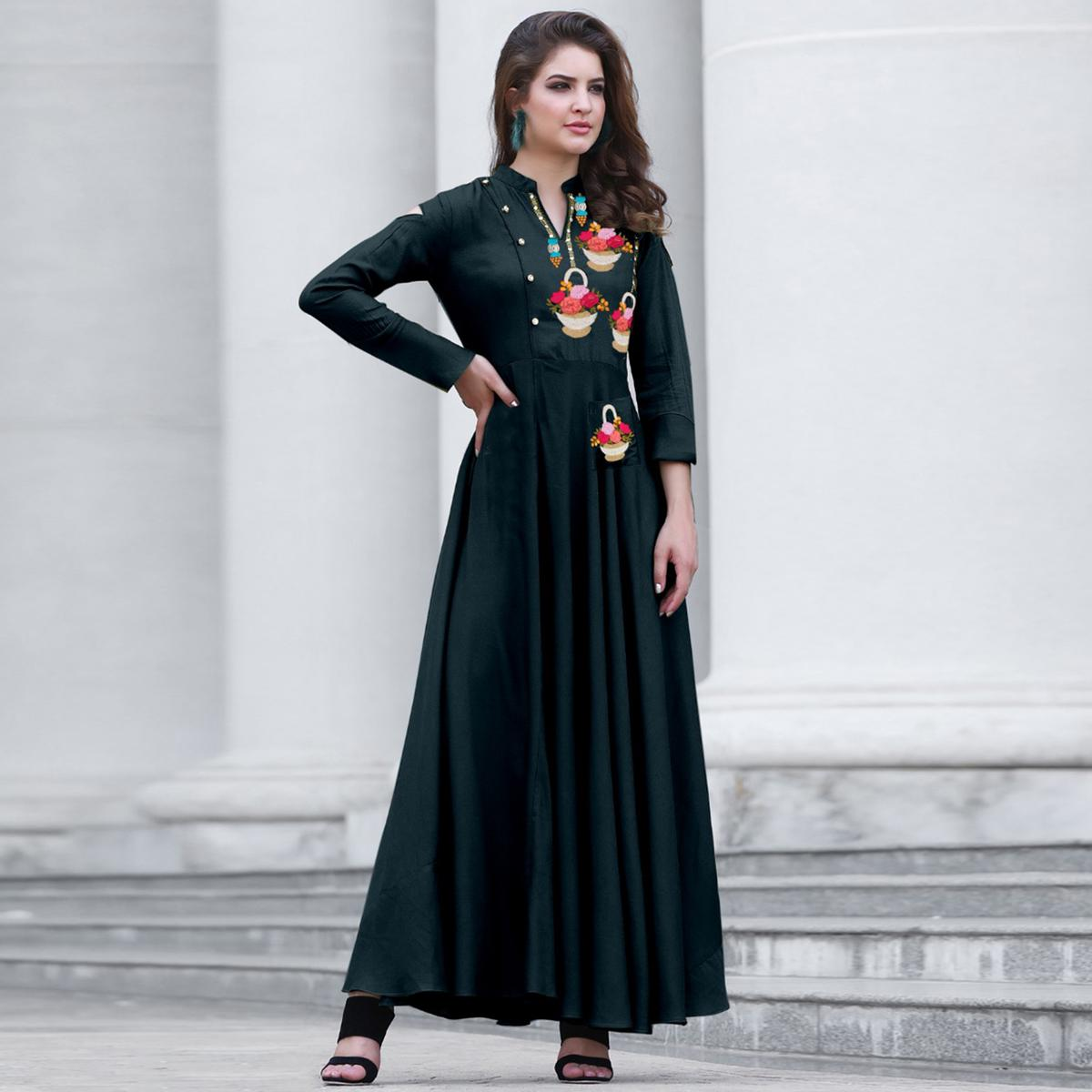 Groovy Teal Green Colored Party Wear Embroidered Cotton Kurti