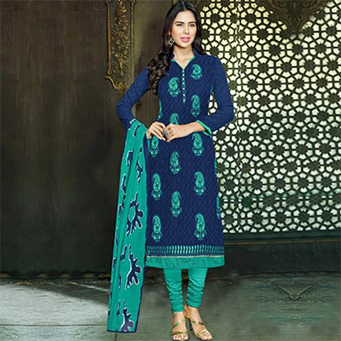 Delightful Navy Blue and Turquoise Embroidered Semi Stitched Salwar Suit