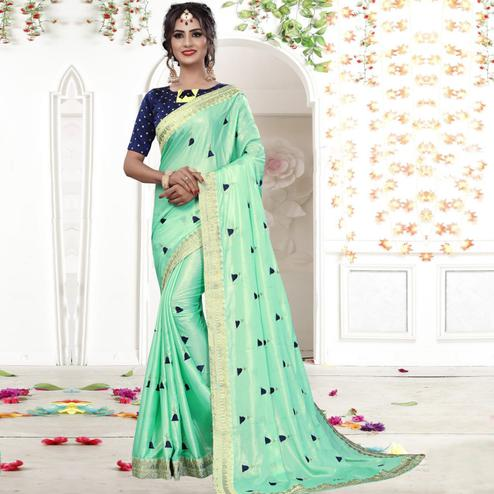 Impressive Green Colored Party Wear Embroidered Georgette Saree