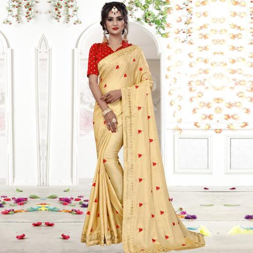 Innovative Beige Colored Party Wear Embroidered Georgette Saree