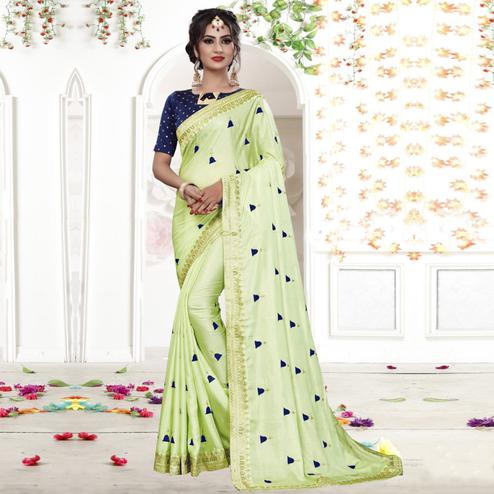 Gleaming Light Green Colored Party Wear Embroidered Georgette Saree