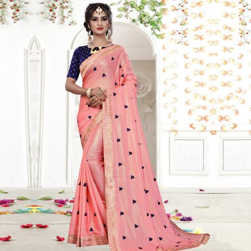 Arresting Pink Colored Party Wear Embroidered Georgette Saree