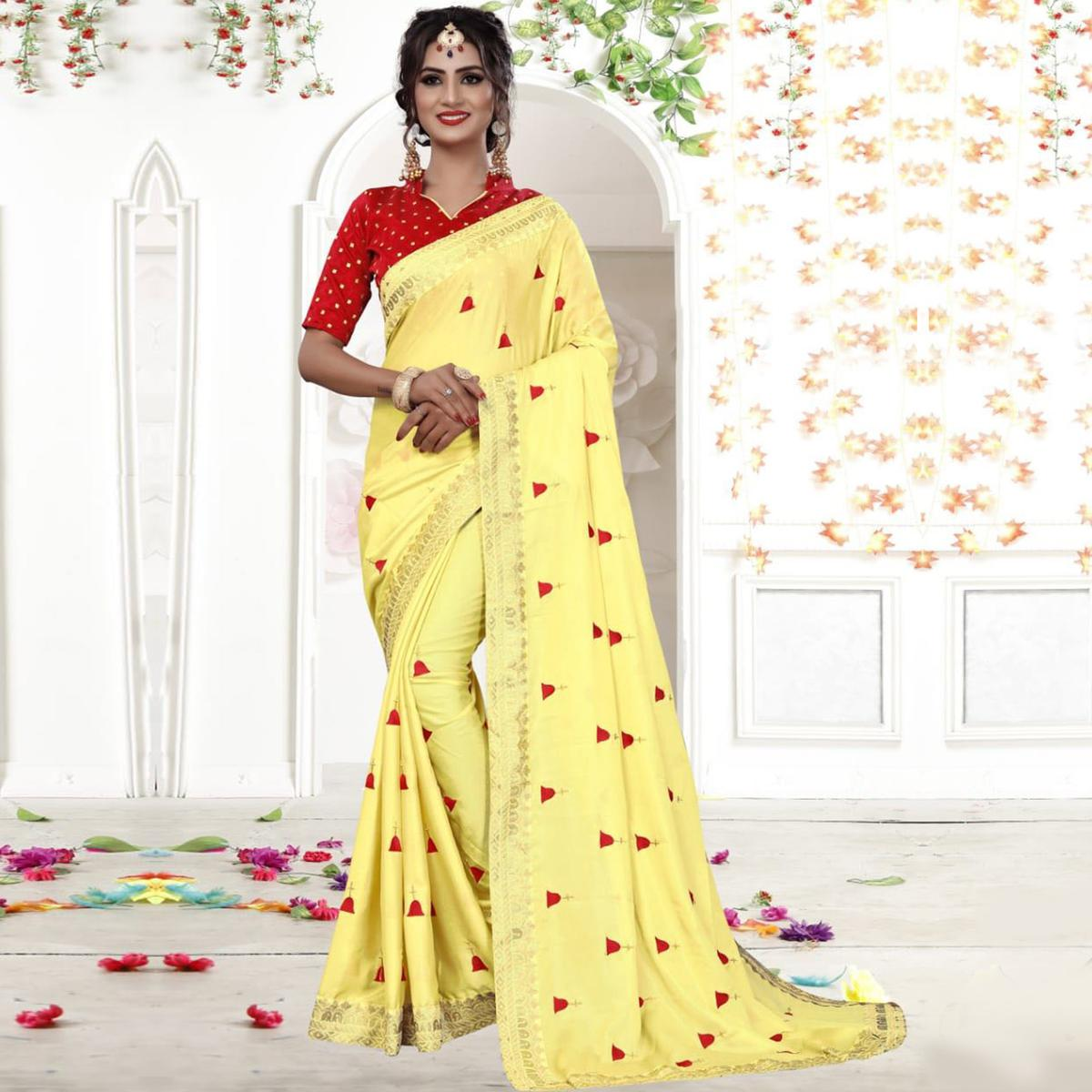 Exceptional Yellow Colored Party Wear Embroidered Georgette Saree