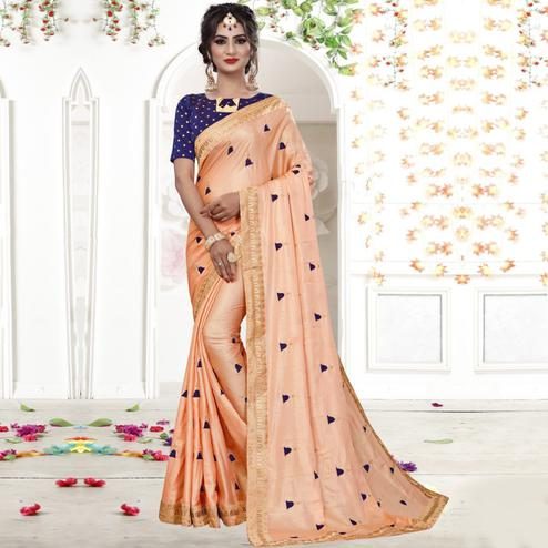Excellent Peach Colored Party Wear Embroidered Silk Saree