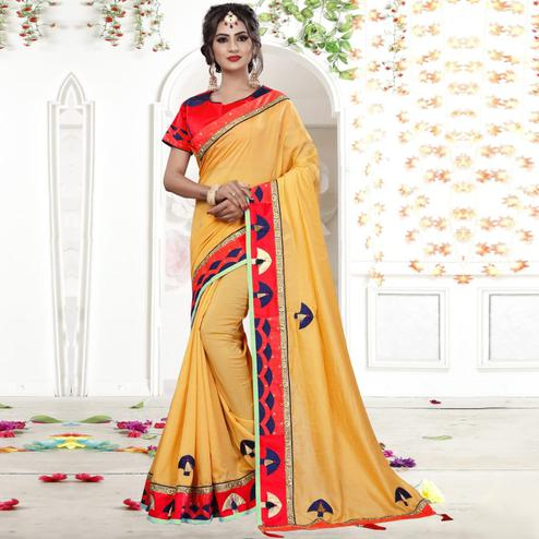 Ethnic Pastel Orange Colored Party Wear Embroidered Silk Saree