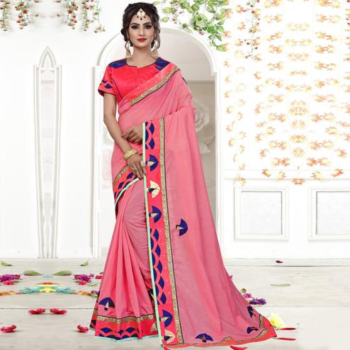 Surpassing Pink Colored Party Wear Embroidered Silk Saree